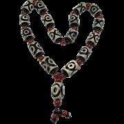 Chinese Beaded Prayer Necklace  Dzi-Type