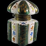 Old Porcelain Floral Ink Well