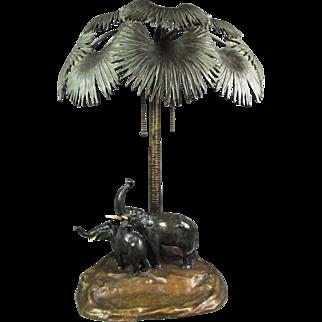 Austrian Bronze Elephant Lamp
