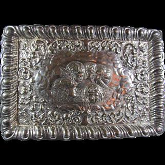 Cherub Silver Plated Dresser Tray