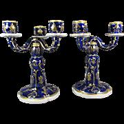 Pr Royal Dux Porcelain Candelabra