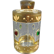 Antique Jeweled Gilt Crystal Jar