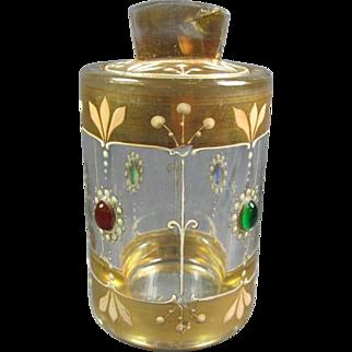Antique Jeweled Gilt Crystal Jar