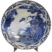 18inch Blue & White Japanese Arita Charger Signed