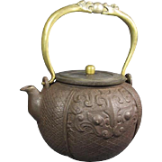 Cast Iron and Bronze Chinese Teapot with Dragons