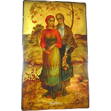 Large Russian Box Lacquer/Hand Decorated Signed