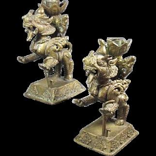 Antique Thai Bronze Lion Candlesticks