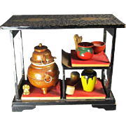 Japanese Doll House Tea Ceremony Set on Stand
