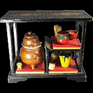 Japanese Doll House Tea Set on Stand