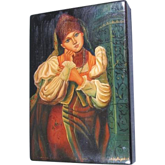 Russian Peasant Lacquer Box Signed