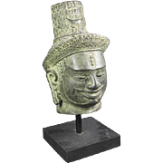 Old Asian Bronze Bust on Stand