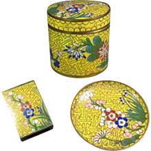 Trio of Old Chinese Cloisonné Pieces