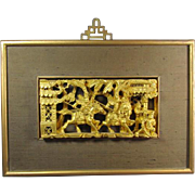 Chinese Framed Gilt wood panel
