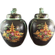 Pr Chinoiserie Vases from Bourne & Leigh