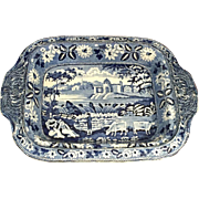 "Antique Staffordshire Transferware Blue/White Serving Dish / Bowl  Circa-1820   "" Lakes of Killarney""   pattern"