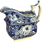 Antique English Staffordshire Blue Creamer
