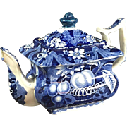 19th Century Blue Staffordshire Teapot