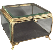 Antique Beveled Glass Bronze/Brass Jewelry Box
