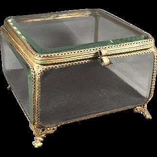 Antique Beveled Glass Bronze/Brass Jewelry Box