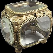 old  Miniature Bronze / Beveled Glass Jewelry Box/Casket