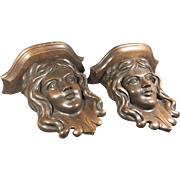 Pr Carved Wood Female Figural Corbels