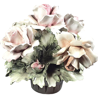 Capodimonte Porcelain Basket of Roses