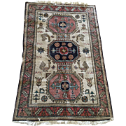 Old Persian Wool Rug Animal And Floral Motif