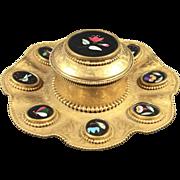 Antique Gilt Pietra Dura Bronze Inlaid Inkwell