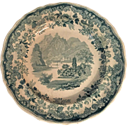 19th Century Davenport Green Transfer-ware Plate