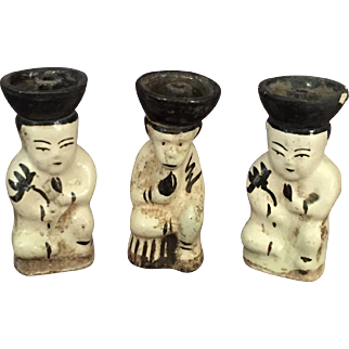 Trio of  Chinese Cizhou Candlesticks-Incense Figurines