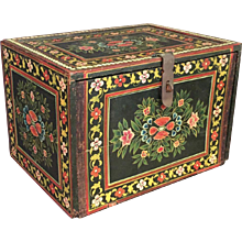 Old Painted Jewelry / Trinket  Chest/Box