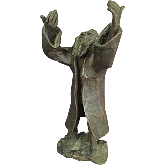 Religious Bronze Sculpture of a Rabbi Artist Signed