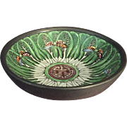 Chinese Pewter Clad Porcelain Bowl Butterflies