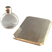 Art Deco Sterling Cigarette  Case by Elgin And Glass Perfume Bottle