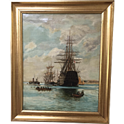 Antique HMS Victory Oil on Canvas