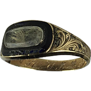 Antique Gold Mourning Ring Engraved J. Q. Adams
