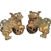 Pair Antique Chinese Lions