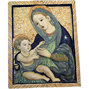 Antique Deruta Majolica Plaque of the Madonna and Child