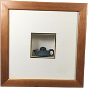 Miniature Chinese Pottery Tea Pot Framed