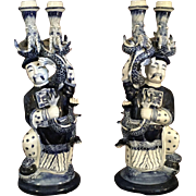 Pair Porcelain Dragon Candlesticks