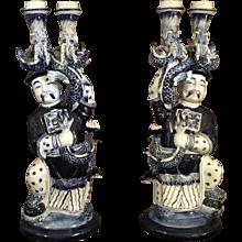 Pair Porcelain Dragon Candlesticks
