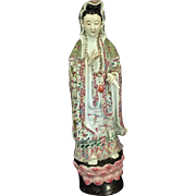 Tall Antique Porcelain Guanyin from China