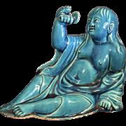 Chinese Porcelain Figural Liu Haichan in Turquoise Glaze