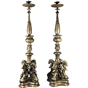 Heavy Bronze Ram's Head Candlesticks