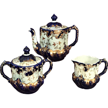 Gilt Enameled Continental Tea Set