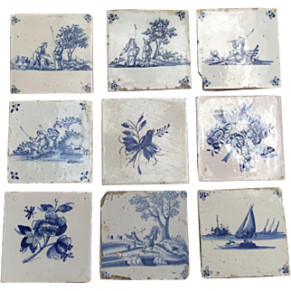 Nine Antique Delft Tiles