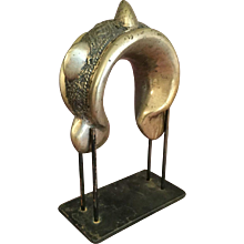 Large Brass African Manilla on Stand