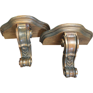 Pair Carved Wood Brackets