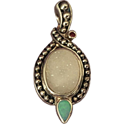 Chinese Sterling Hard Stone Pendant