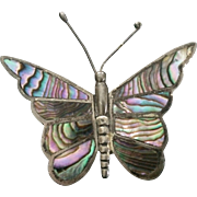 Large Sterling & Abalone Butterfly Brooch Pin